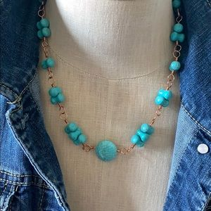 Chunky turquoise copper necklace ~handmade
